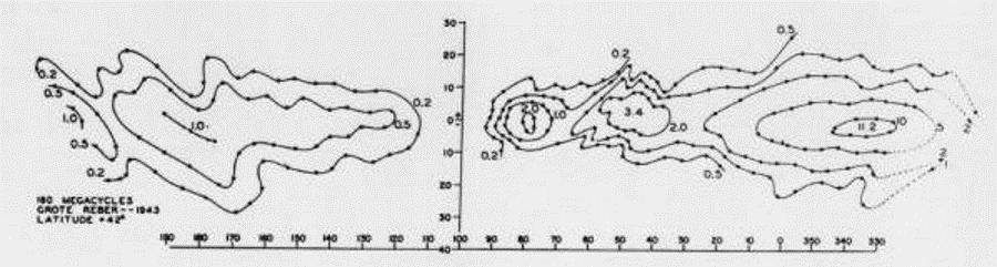 La prima radio-mappa della galassia compilata da Reber