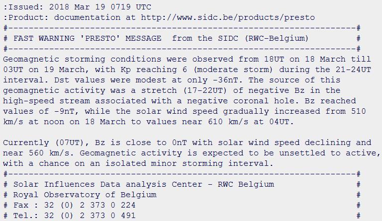 Avviso di tempesta geomagnetica pubblicato da SIDC per i giorni 18 e 19 Marzo 2018.