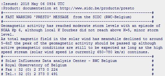 Messaggio di allerta relativo alla tempesta geomagnetica del 5-6 Maggio 2018 emesso da SIDC (Belgio).