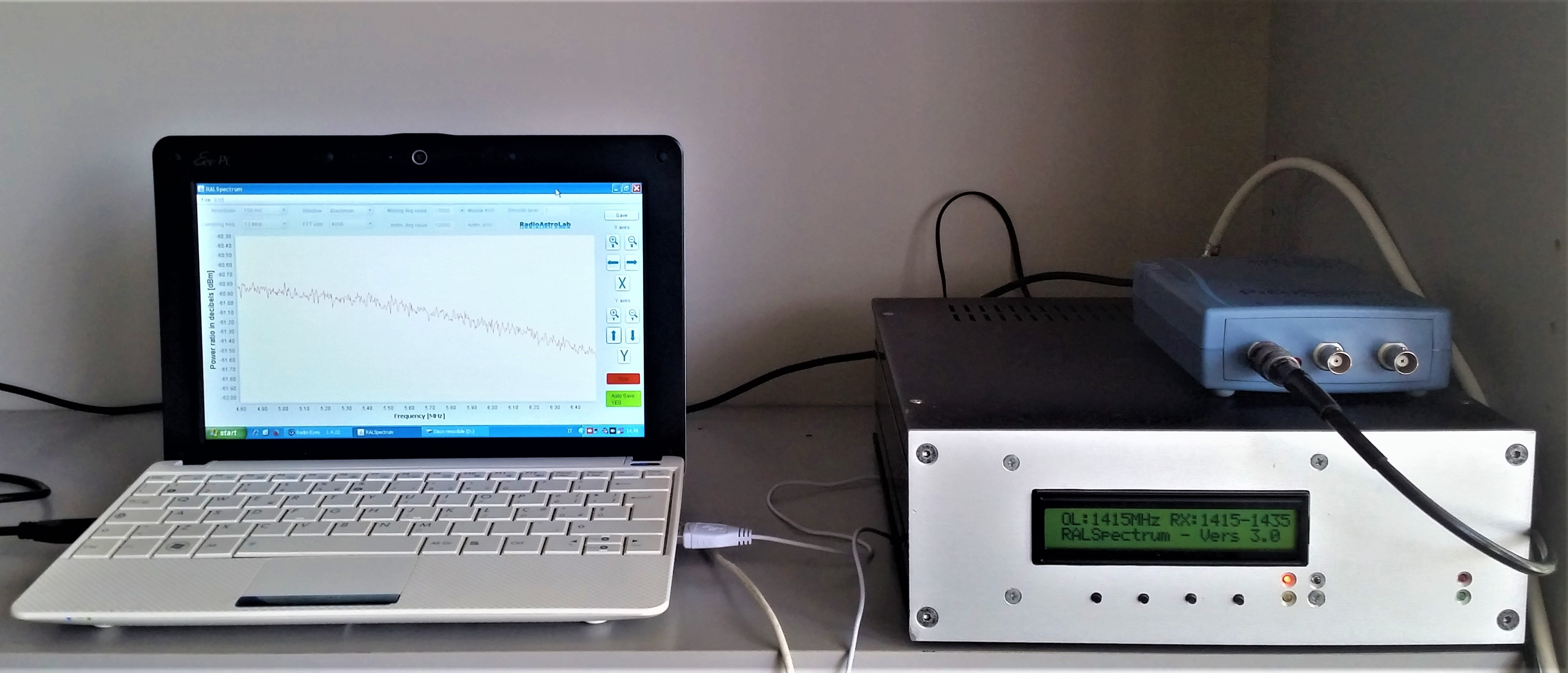Unità ricevente interna: prototipo di radio-spettrometro FFT ad elevata stabilità RALSpectrum, sistema di acquisizione in banda-base e software di elaborazione. Lo strumento è controllabile da remoto via internet.
