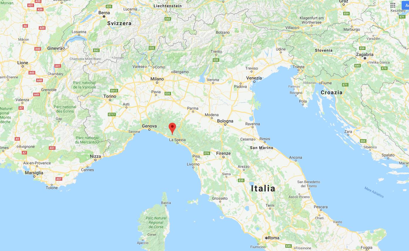 Alle 16:16:28 UTC, corrispondenti al punto centrale della traccia sullo spettrogramma, la Stazione Spaziale Internazionale è volata sula verticale della località (coordinate specificate dal punto M) mostrata nella mappa, a nord-ovest di La Spezia.