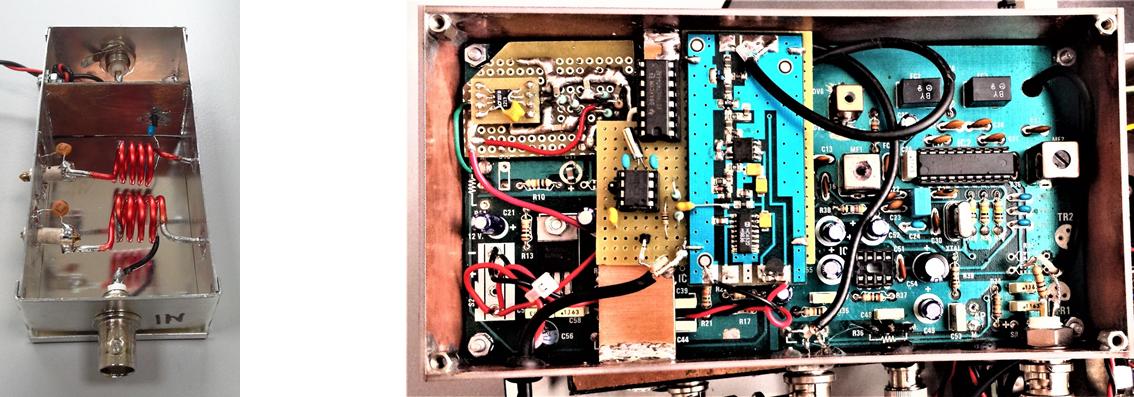 Particolare di uno dei filtri-amplificatori utilizzati nella sezione RF a larga banda (a sinistra) e modulo convertitore di frequenza a banda stretta. Si tratta di un sistema a doppia conversione di frequenza (150 MHz - 10.7 MHz e 10.7 MHz - 455 kHz) che garantisce elevata reiezione verso i segnali esterni alla finestra di ricezione (selezionata e controllata tramite PLL). Il dispositivo è stato realizzato modificando e aggiungendo parti ad un vecchio kit di una nota rivista di elettronica.